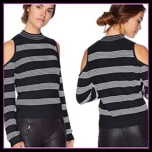 NWT BB DAKOTA BLACK Stripe Cold-Shoulder M SWEATER
